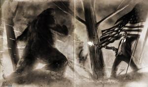 Teddy VS. Bigfoot Old version by SharpWriter