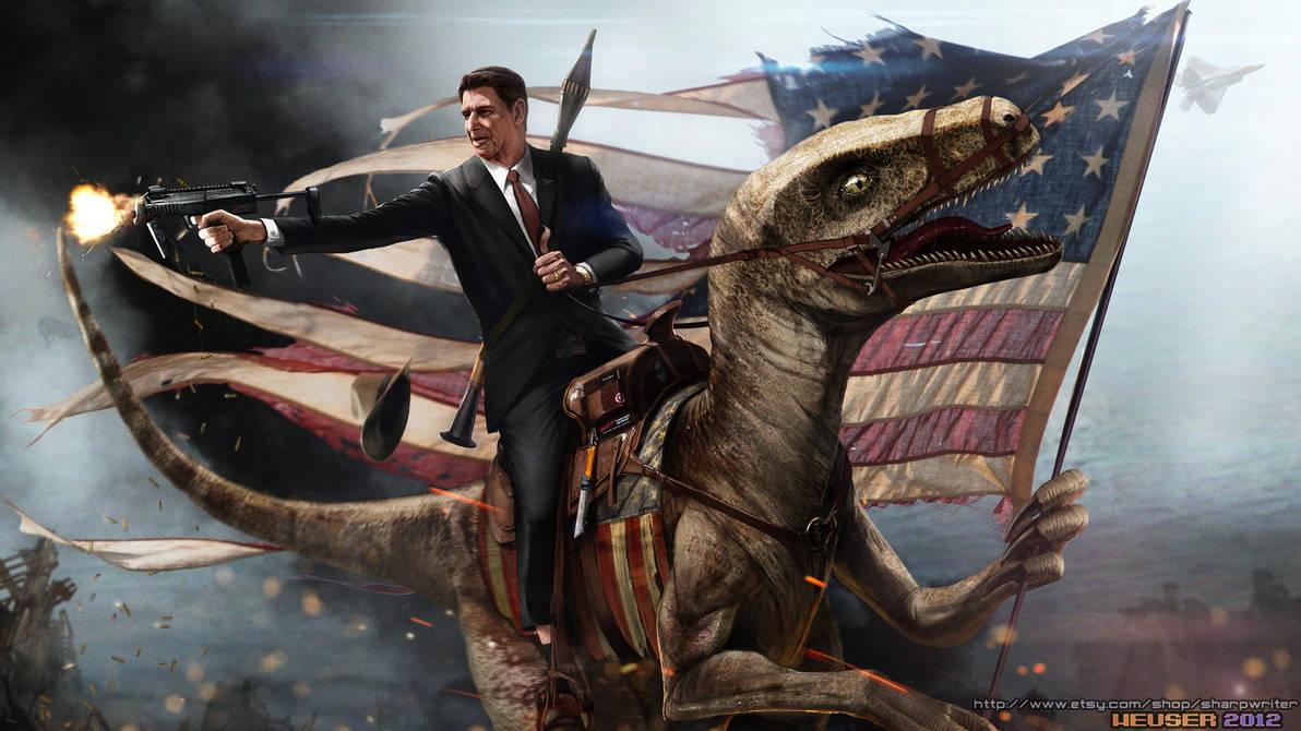 Ronald Reagan Riding a Velociraptor by SharpWriter