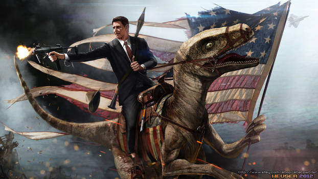 Ronald Reagan Riding a Velociraptor by SharpWriter