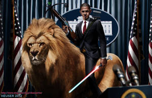 Obama Riding a lion by SharpWriter