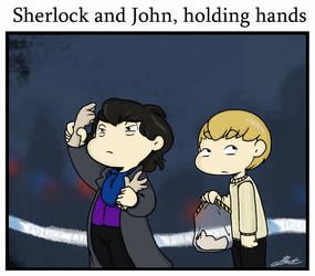 Sherlock - Holding hands by caycowa