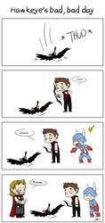 Hawkeye's bad, bad day by caycowa