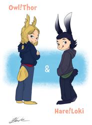 Owl!Thor and Hare!Loki by caycowa