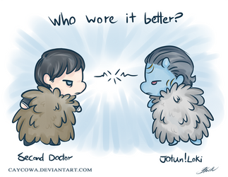 Who wore it better?  Second Doctor VS Jotun!Loki by caycowa