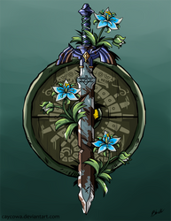 LoZ Breath of the Wild - Sword and Shield by caycowa