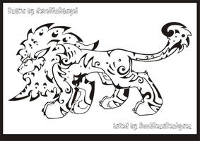 Tribal Lion - LineArt - by SouthernDesigner