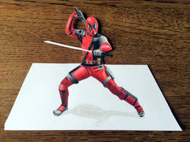 3d Deadpool Color Pencil by Latchunga