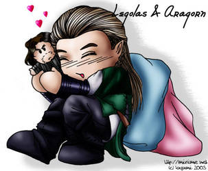 Chibi Legolas and Aragorn by mirime