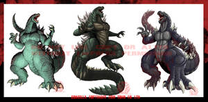A Trio of Godzillas by KaijuSamurai