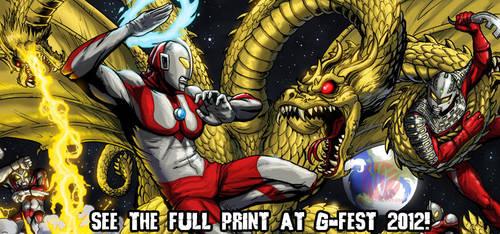 Ultra Brothers VS Ghidrah G-FEST print! by KaijuSamurai