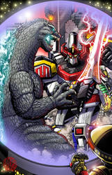 Godzilla vs The Power Rangers - Comicpalooza Print by KaijuSamurai