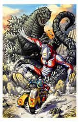 Godzilla vs Ultraman vs Kikaider by KaijuSamurai