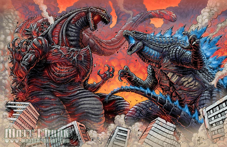 Shin Gojira vs Legendary Godzilla by KaijuSamurai