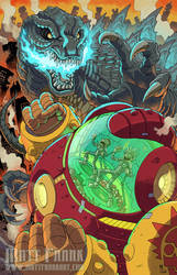 Rick and Morty vs Godzilla FCBD print by KaijuSamurai