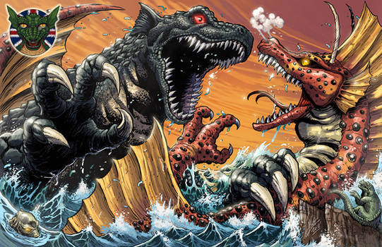 Mama Gorgo vs Titanosaurus for UK KAIJU CONVENTION by KaijuSamurai