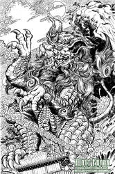 Godzilla Rulers of Earth Vol 5 Okinawa Cover lines by KaijuSamurai