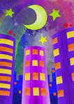 -City at night-Ciudad de noche- Just color by Inkolored