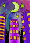 -City at night-Ciudad de noche- Color by Inkolored