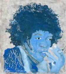 Jimi Hendrix in Blue by LiLDirtyBird