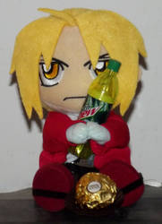 Plushie Edward with Mnt. Dew and chocolate. by mistylovesrocklee