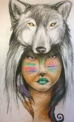 colored woman and nice wolf spirit by andreagarciablabla