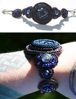 Blue Button Embroidrd Bracelet by NoraBlansett