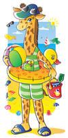 Giraffe on a seashore vector by jkBunny