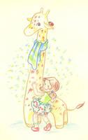 Girl and giraffe by jkBunny
