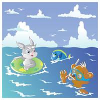 Bunny, bear  and sea by jkBunny