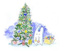 Bunny and christmas tree by jkBunny