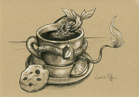 Inktober 18: Tea Dragon by LucieOn