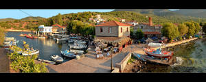 Little Harbour On Lesbos Island - Panorama by skarzynscy