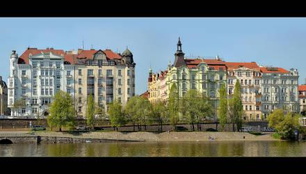 On The Bank Of Vltava - Panorama by skarzynscy
