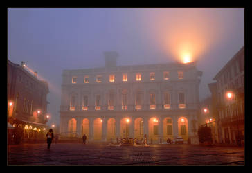 Foggy Winter Evening In Bergamo by skarzynscy