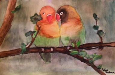 Watercolor Lovebirds by feliciabe