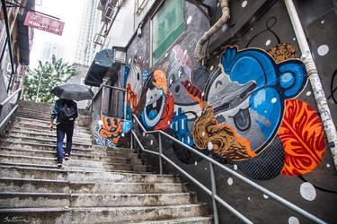 Colorful Graffiti in Soho, Hong Kong by BenHeine