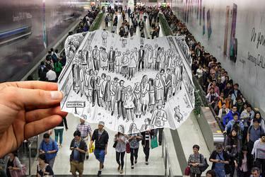 Pencil Vs Camera (Study in Hong Kong Subway) by BenHeine