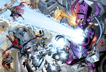 Galactus vs. Marvel's Heroes by artguy72