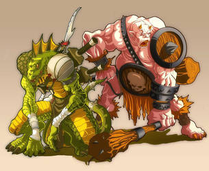 Oger and Lizardman painted ver by Brolo