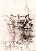 View from a barbican, Warsaw by amilanowska