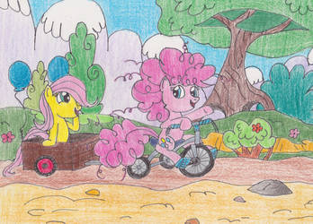 Pinkie and Fluttershy's Ride to Conquer Cancer by DarkKnightWolf2011