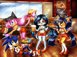 CE: Hooters Girls and Sonic by Luna-rii