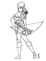 Kaysha - Elf Ranger (Inked WIP) by BrandonHill