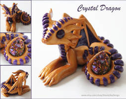 Polymer Clay Crystal Dragon Gold and Purple by ShaidySkyDesign