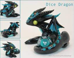 Polymer Clay Dice Dragon Black and Teal by ShaidySkyDesign