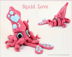 Valentine's Day Squid pink and white by ShaidySkyDesign