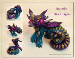 Polymer Clay Bright Butterfly Dice Dragon by ShaidySkyDesign