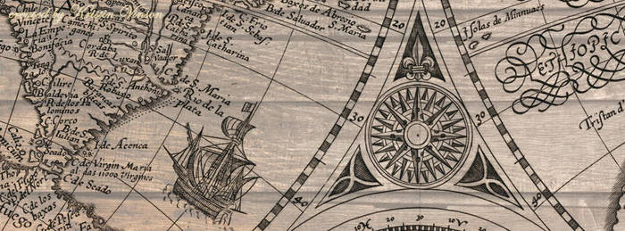 Map's Compass Rose and Ship Facebook Cover by CrystalKittyCat
