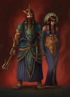 Ar Pharazon And Tar Miriel by Skullbastard