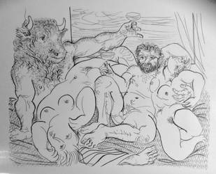 Picasso vollard suite ink drawing by Ned-The-Hat